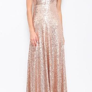 Ready For You Gold Sequin Sleeveless Spaghetti Strap V Neck Backless Maxi Dress - Back in Stock