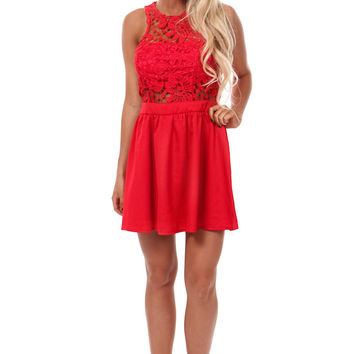 Red Lace Bodice Flare Mini Dress