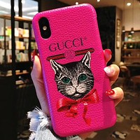 GUCCI Tide brand leather iPhone7plus all-inclusive mobile phone case cover rose red