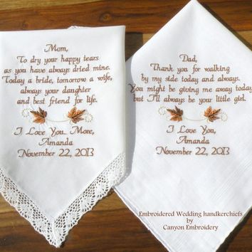 Embroidered Wedding Hankerchiefs, Fall Wedding, Wedding Gifts, Mother & Father of the Bride, Wedding Gift for Parents by Canyon Embroidery