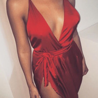 Satin Spaghetti Straps Dress