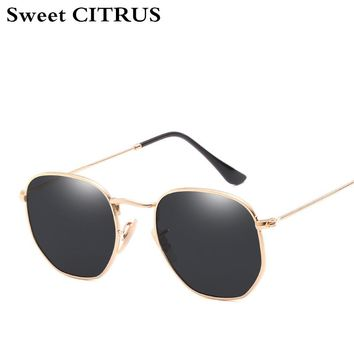 Sweet CITRUS Hexagonal Aviation Coating Mirror Flat Lens Sunglasses Men Brand Designer Vintage Pink Driving Sun Glasses Women