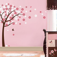 Cherry Blossom Tree vinyl decal Baby Nursery room Wall Decals baby girl sticker flowers wall sticker children kids room decor butterfly pink