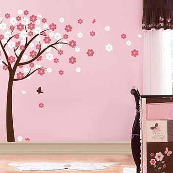 Cherry Blossom Tree Vinyl Decal Baby Nursery Room Wall Decals Sticker Flowers