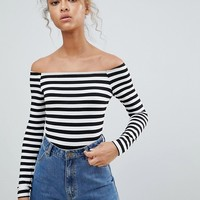 ASOS DESIGN off shoulder stripe body at asos.com