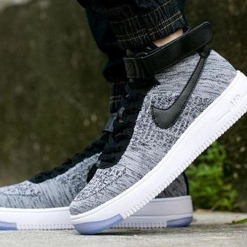 ESBBE6 Nike Air Force 1 Flyknit Mid-High 817420-005 Grey For Women Men Sneakers