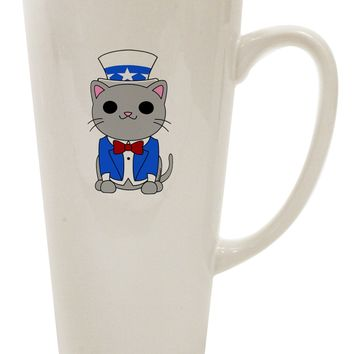 Patriotic Cat 16 Ounce Conical Latte Coffee Mug by TooLoud