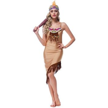 Indians Sexy Maiden Costumes Adult Women 2016 Halloween Carnival Costumes Forest Primitive Cosplay Party Role Play Night Club DS