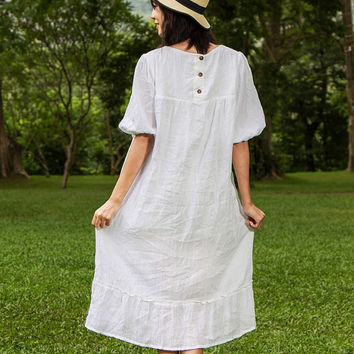Hippie Boho Dress - White Boho Dress, Baby Doll Sleeve Dress, Sundresses, Hippie dress, Plus Size Clothing, Tunic Dress, Gypsy Midi Dress