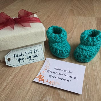 Pregnancy Announcement Gift / Grandparent Reveal / Gender Reveal / Baby Shower Gift / Newborn Bootie Gift