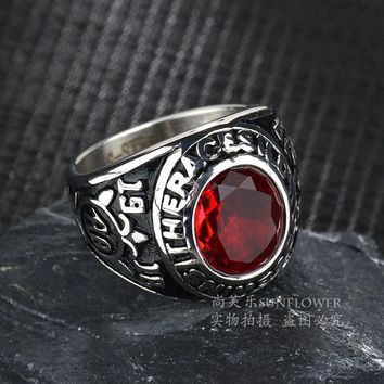 100% Titanium Steel American Army Soldier Rings Trendy Tide Male Red Stone Antique Silver Crystal Ring For Man 2017