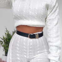 CREAM CABLE KNIT LOUNGEWEAR SET - ANHA