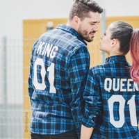 King Queen Plaid Shirts, King 01 Queen 01 Plaid Shirts, UNISEX