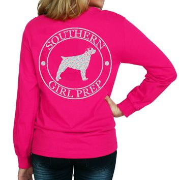 """*Closeout* Southern Girl Prep  """"Floral Dog"""" Long Sleeve T-shirt"""