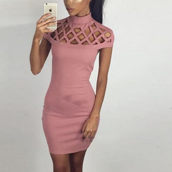 Bodycon Slim Dress For Women Turtle Neck Bandage Casual Spring Pencil Dresses Night Club Cocktail Pa