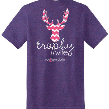 Southern Darlin Funny Trophy Wife Chevron Deer Country Anchor Bright Girlie T-Shirt