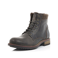 River Island MensBrown cleated combat boots