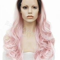 26 inch Curly Rooted Pastel Pink Ombre Lace Front Synthetic Wig