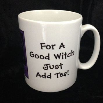 For a Good Witch Just Add Tea! Pagan Wiccan Mugs designed by Cheeky Witch