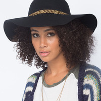 Chain Band Womens Floppy Hat Black One Size For Women 26405610001