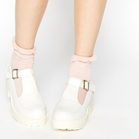 Daisy Street White Chunky Mid Heeled Shoes