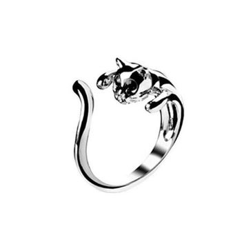 Silver Color Cute Cat Ring With Black Eyes