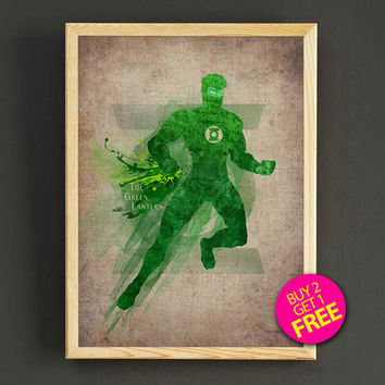 Green Lantern Superhero Watercolor Art Print Justice League Superhero Poster House Wear Wall Decor Gift Linen Print - Buy 2 Get FREE - 43s2g
