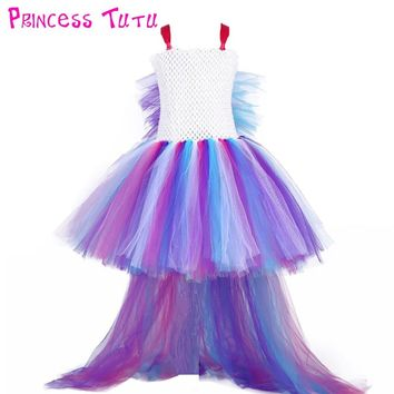 Princess Girl Unicorn Bustle Tutu Dress Girls Rainbow Birthday Party Photo Dresses Kids Perform Costume For Special Holidays