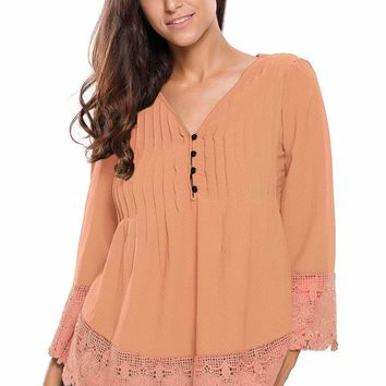 Light Orange Lace Detail Button Up Sleeved Blouse