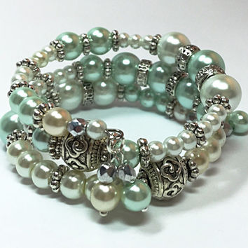 Wedding Accessories - Pastel Blue & White Bracelet- Pearl Bracelet - Mother of Bride - Wedding Bangle- Beaded Memory Wire Bracelet TDC481