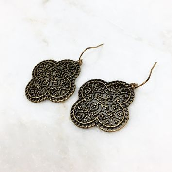 Heart & Spade Earrings In Brass Gold