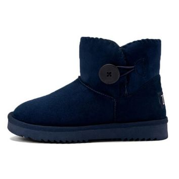 Waterproof snow button boots with high-level increase with warm velvet button boots Dark lbue