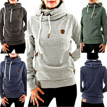 Autumn Womens Hoody Hoodie Sweatshirts Long Sleeve Pockets Slim Tops Blouse [8833571084]