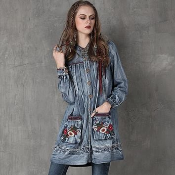 Trench Coat 2017 Vintage Denim Women Open Sistch Coats Stand Collar Floral Embroidery Lantern Sleeve Casacos with Pockets OK