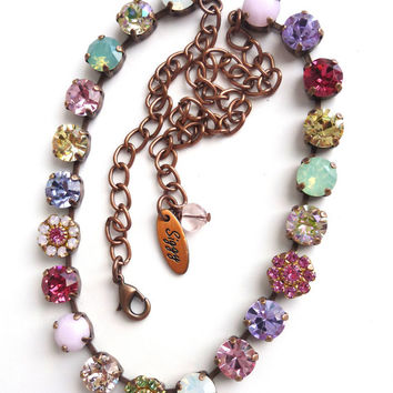 Swarovski crystal necklace, 8mm soft pastels and flowers, Great Price, Siggy choker, designer inspired