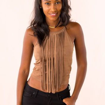The Jameson Crop Top in Brown