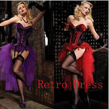 free shipping Ladies Adult Burlesque Dancer Moulin Purple Fancy Dress Costume Cabaret