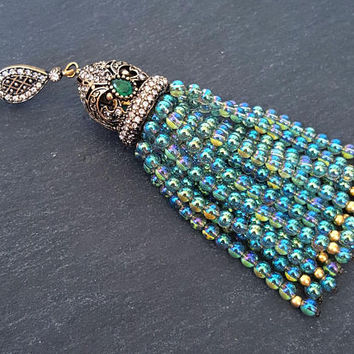 Aqua Green Rainbow Crystal Quartz Beaded Tassel Iridescent Aurora Borealis Antique Bronze Rhinestone Accents - Fleur Cap