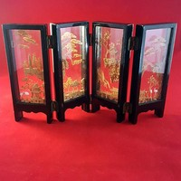 Mini Room Divider Asian Black Lacquer 4 Panels