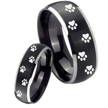 His Her Matte Dome Paw Print Design Two Tone Tungsten Carbide Wedding Rings Set