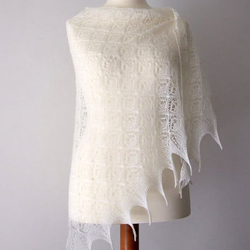 white bridal shawl lace wedding shrug luxury knit merino triangle