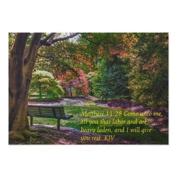 """Come rest"" autumn park flat card with bible verse"