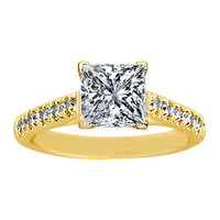 Engagement Ring - 14 Karat Yellow Gold Vintage Style Diamond Engagement Ring 0.20 tcw. - ES167YG