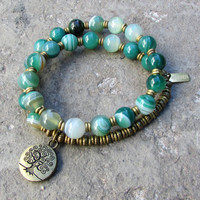 Strength, genuine Green Sardonyx 27 bead wrap mala bracelet™