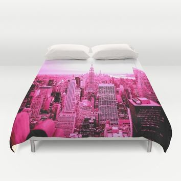New York City Pink Duvet Cover by 2sweet4words Designs