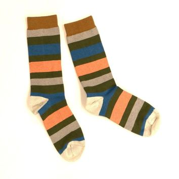 Light Grey, Olive Green, Aqua & Pink Multi Stripe Socks