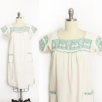Vintage 1970s Dress - Mexican Ivory Cotton Green EmbroideredTent Dress 70s - Small S