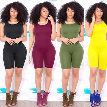 Women Casual Sleeveless Bodycon Romper Jumpsuit Club Bodysuit Short Pants Summer Solid Color Vest 1PCS Casual Sexy Playsuit NEW
