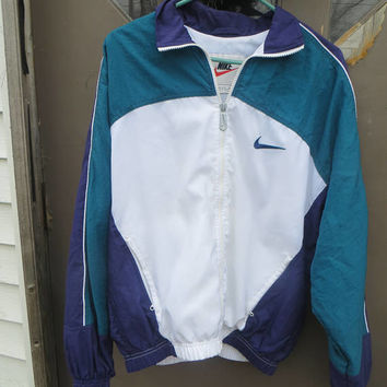 retro  oversized  NIKE large  Swoosh  3 tone colorblock  zipup     nylon  Sport Jacket Windbreaker size  MED