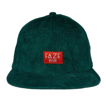 FAZE Trademark Corduroy Snapback Hat in green